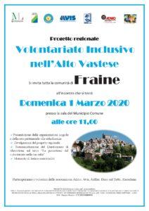 Locandina - Progetto Volontariato Inclusivo nell'Alto Vastese FRAINE