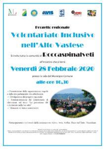 Locandina - Progetto Volontariato Inclusivo nell'Alto Vastese - ROCCASPINALVETI