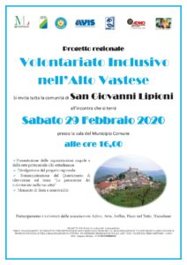 Locandina - Progetto Volontariato Inclusivo nell'Alto Vastese SAN GIOVANNI LIPIONI