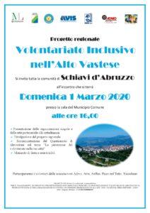 Locandina -Progetto Volontariato Inclusivo nell'Alto Vastese - SCHIAVI